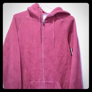 TNA long zip up maroon hoodie
